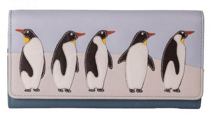 Leather Ollie 5 Penguins Flap Over Purse includes RFID
